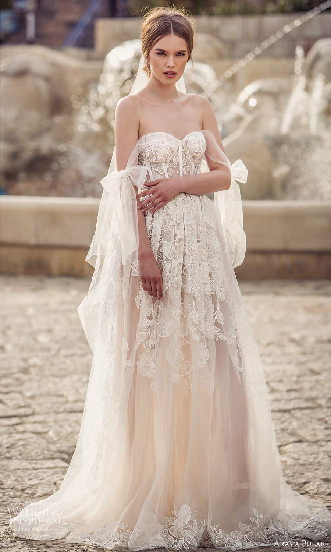 arava polak 2021 bridal off shoulder swag sleeves sweetheart neckline fully embellished a line ball gown wedding dress chapel train (3) mv