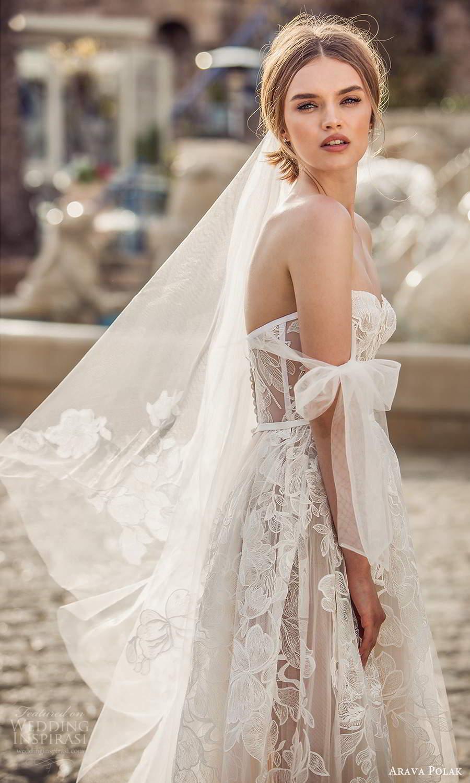 arava polak 2021 bridal off shoulder swag sleeves sweetheart neckline fully embellished a line ball gown wedding dress chapel train (3) zsv