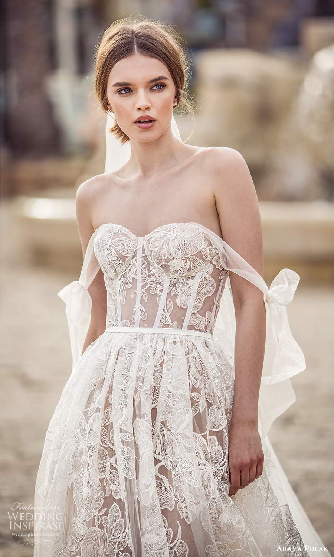 arava polak 2021 bridal off shoulder swag sleeves sweetheart neckline fully embellished a line ball gown wedding dress chapel train (3) zv