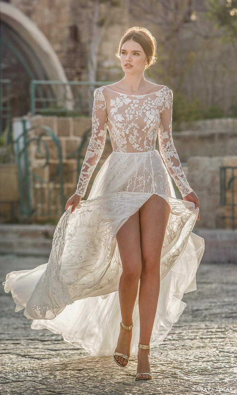 arava polak 2021 bridal sheer long sleeves bateau neckline fully embellished lace a line wedding dress slit skirt chapel train (4) mv