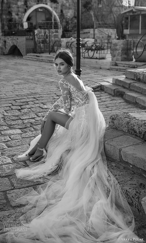arava polak 2021 bridal sheer long sleeves bateau neckline fully embellished lace a line wedding dress slit skirt chapel train v back (4) bv