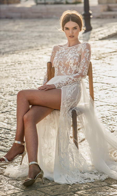 arava polak 2021 bridal sheer long sleeves bateau neckline fully embellished lace a line wedding dress slit skirt chapel train v back (4) fv