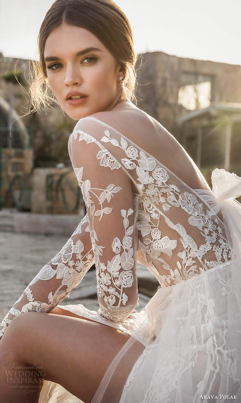 arava polak 2021 bridal sheer long sleeves bateau neckline fully embellished lace a line wedding dress slit skirt chapel train v back (4) zsv