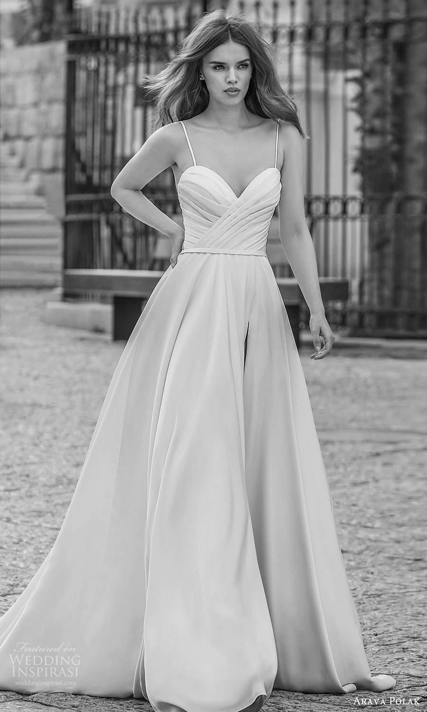arava polak 2021 bridal sleeveless spaghetti straps sweetheart neckline ruched bodice clean minimalist a line ball gown wedding dress chapel train (10) mv