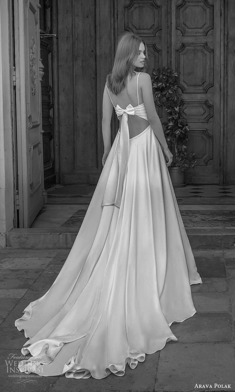 arava polak 2021 bridal sleeveless spaghetti straps sweetheart neckline ruched bodice clean minimalist a line ball gown wedding dress chapel train cutout bow back (10) mv