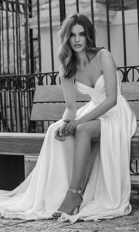 arava polak 2021 bridal sleeveless spaghetti straps sweetheart neckline ruched bodice clean minimalist a line ball gown wedding dress chapel train cutout bow back (10) zv