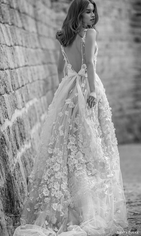 arava polak 2021 bridal sleeveless straps plunging v neckline fully embelished a line ball gown wedding dress chapel train (2) bv