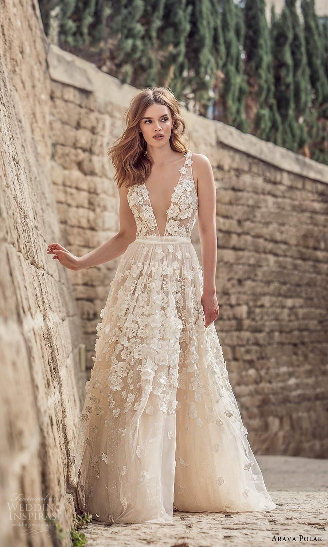arava polak 2021 bridal sleeveless straps plunging v neckline fully embelished a line ball gown wedding dress chapel train (2) mv