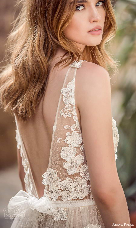 arava polak 2021 bridal sleeveless straps plunging v neckline fully embelished a line ball gown wedding dress chapel train (2) zbv
