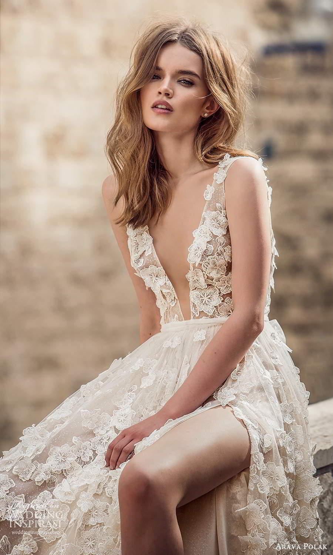 arava polak 2021 bridal sleeveless straps plunging v neckline fully embelished a line ball gown wedding dress chapel train (2) zv