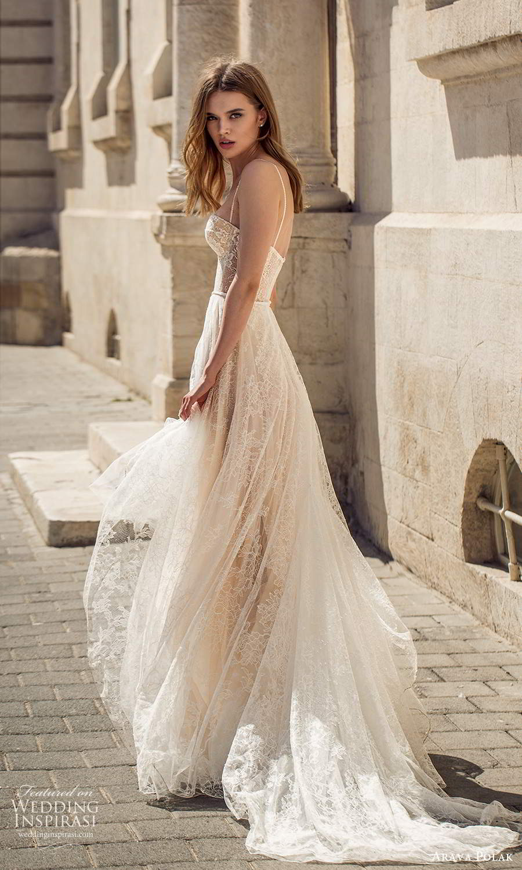 arava polak 2021 bridal sleeveless thin straps semi sweetheart necline fully embellished lace a line ball gown wedding dress chapel train (7) bv
