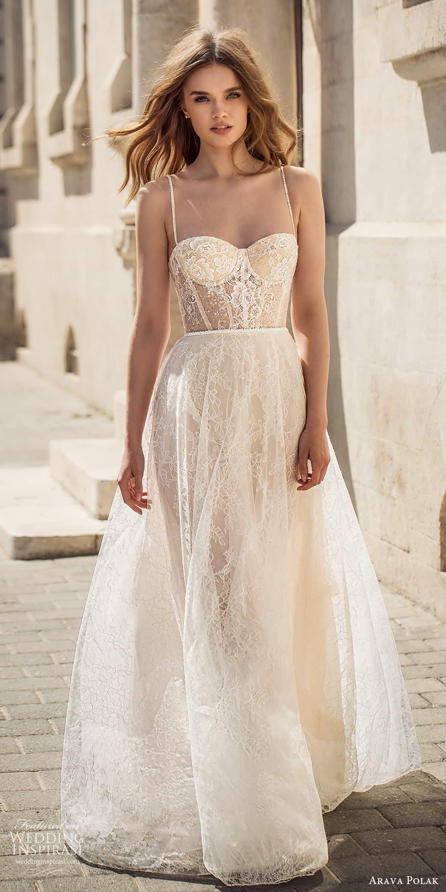 arava polak 2021 bridal sleeveless thin straps semi sweetheart necline fully embellished lace a line ball gown wedding dress chapel train (7) mv