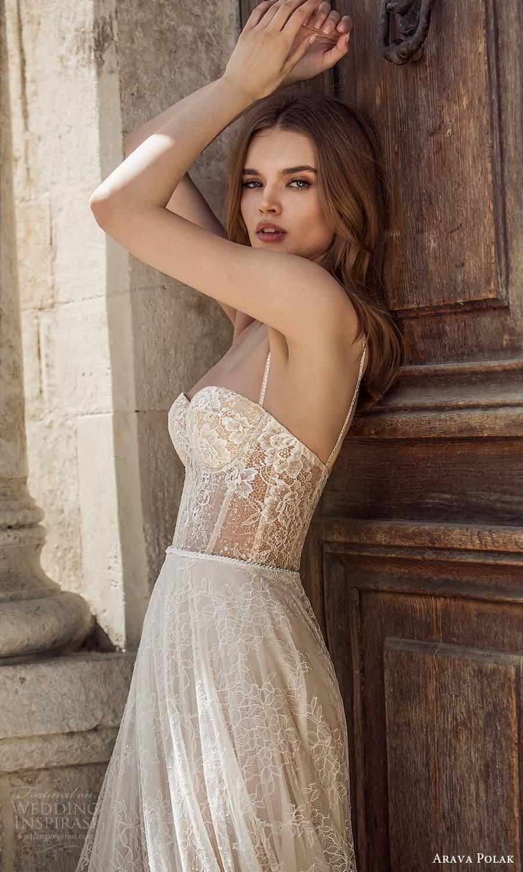 arava polak 2021 bridal sleeveless thin straps semi sweetheart necline fully embellished lace a line ball gown wedding dress chapel train (7) zsv