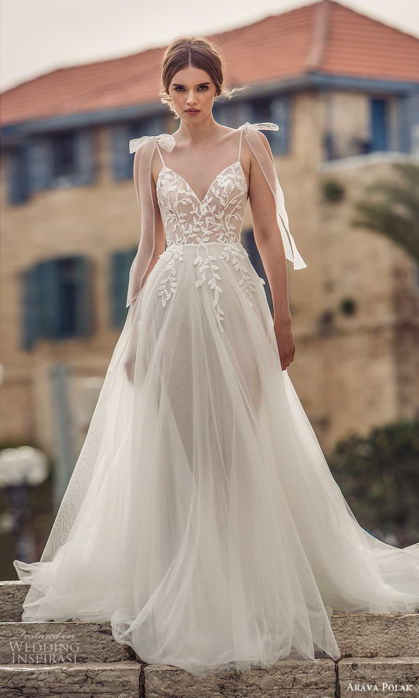 arava polak 2021 bridal sleeveless thin straps sweetheart neckline embellished bodice a line ball gown wedding dress chapel train (8) mv