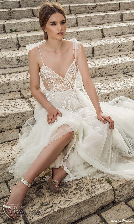 arava polak 2021 bridal sleeveless thin straps sweetheart neckline embellished bodice a line ball gown wedding dress chapel train scoop back (8) fv