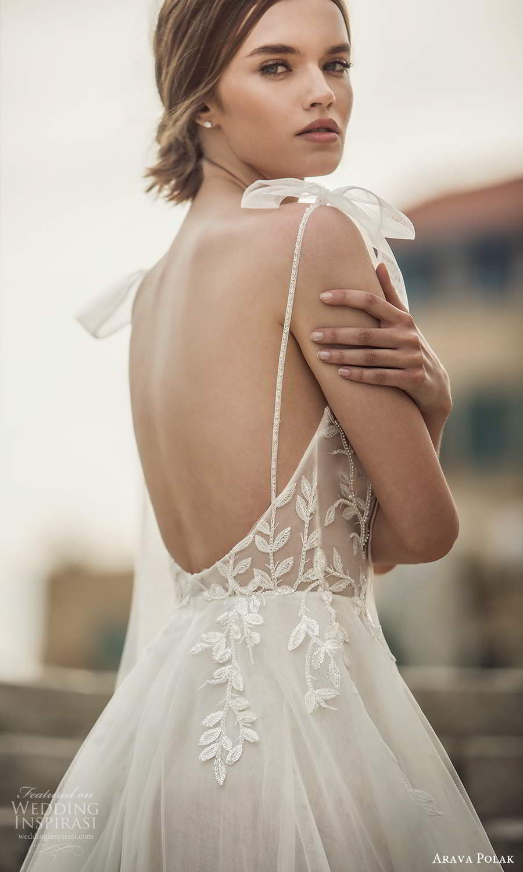 arava polak 2021 bridal sleeveless thin straps sweetheart neckline embellished bodice a line ball gown wedding dress chapel train scoop back (8) zbv