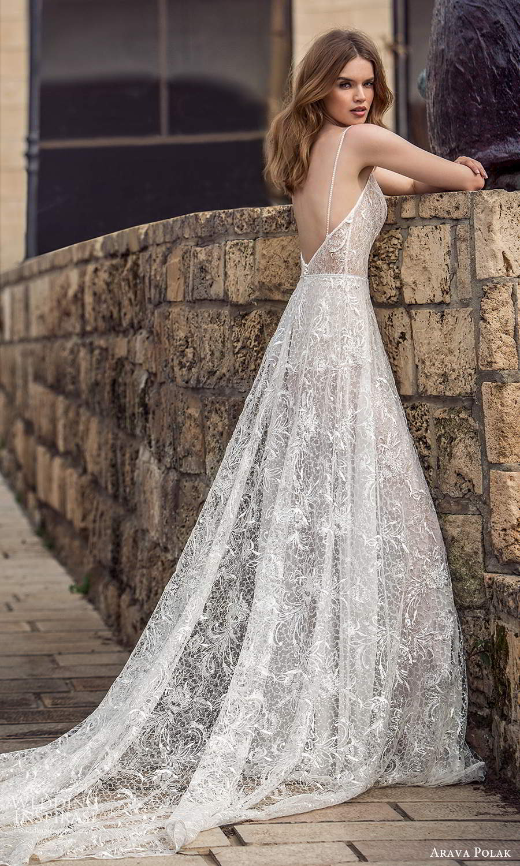 arava polak 2021 bridal sleeveless thin straps sweetheart neckline fully embellished a line ball gown wedding dress chapel train slit skirt (6) bv