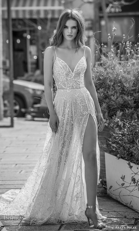 arava polak 2021 bridal sleeveless thin straps sweetheart neckline fully embellished a line ball gown wedding dress chapel train slit skirt (6) mv