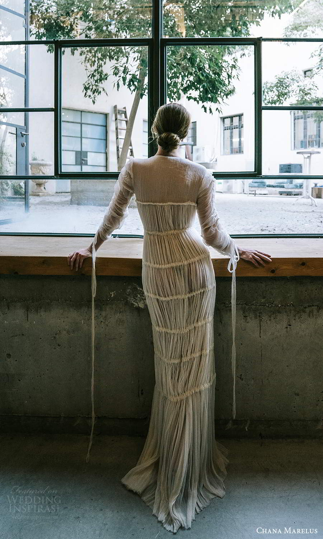 chana marelus 2021 bridal 3 quarter sleeves jewel neckline pleated bodice a line wedding dress pleated skirt sweep train (7) bv