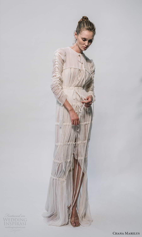 chana marelus 2021 bridal 3 quarter sleeves jewel neckline pleated bodice a line wedding dress pleated skirt sweep train (7) fv