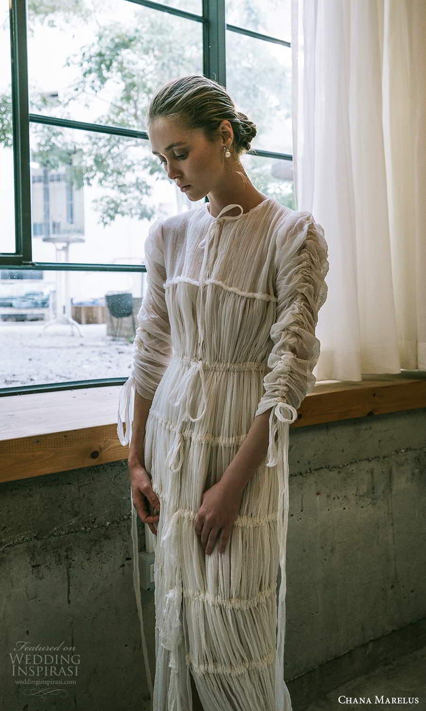 chana marelus 2021 bridal 3 quarter sleeves jewel neckline pleated bodice a line wedding dress pleated skirt sweep train (7) mv