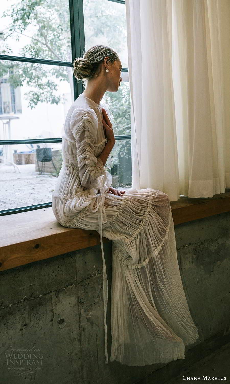 chana marelus 2021 bridal 3 quarter sleeves jewel neckline pleated bodice a line wedding dress pleated skirt sweep train (7) sv