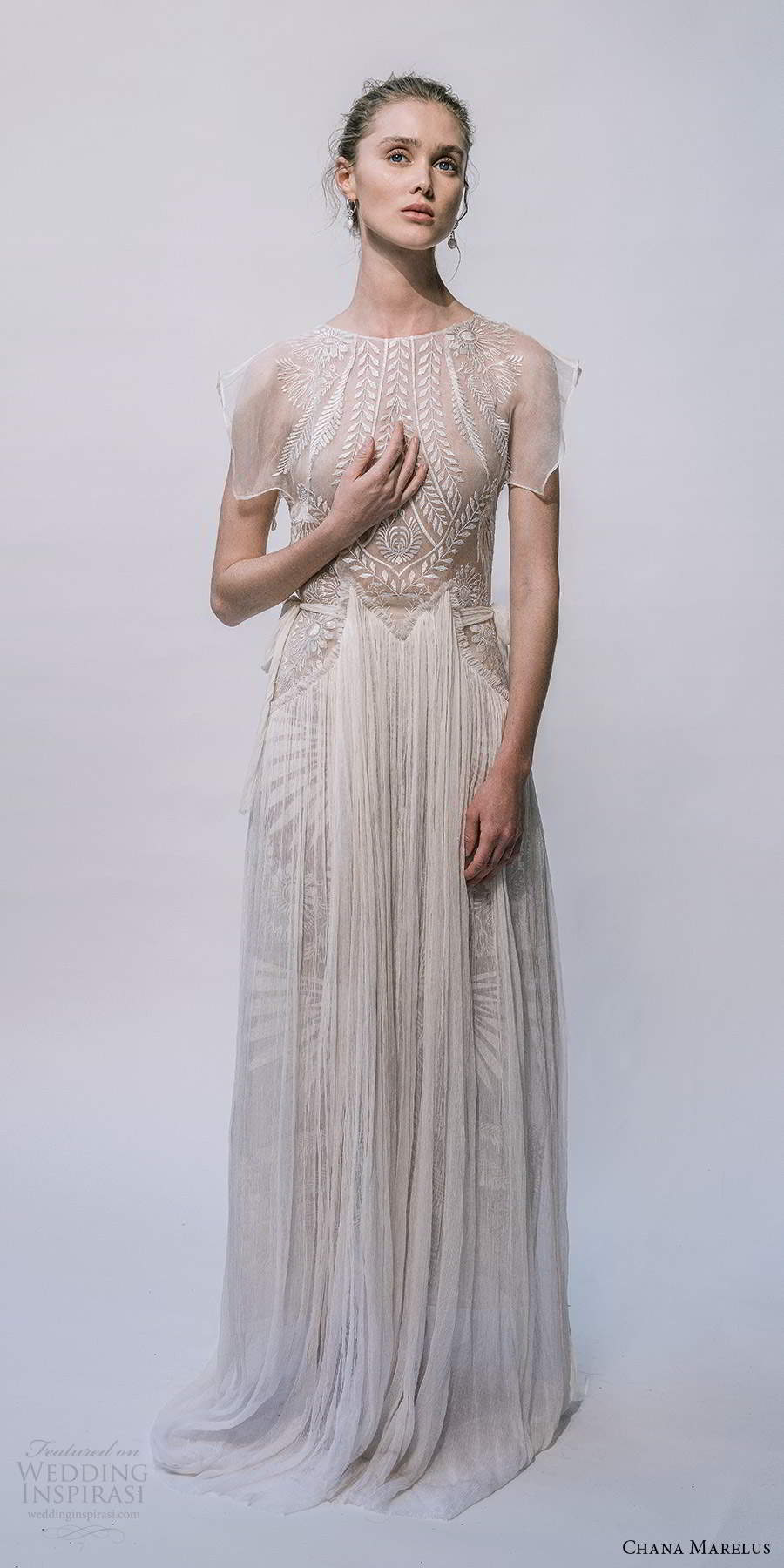 chana marelus 2021 bridal flutter sleeves jewel neckline embellished bodice pleated skirt a line wedding dress sweep train (10) mv