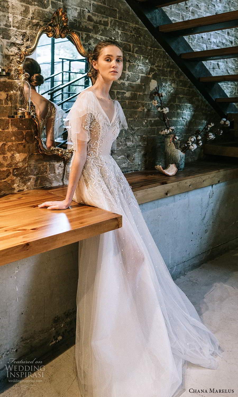 chana marelus 2021 bridal flutter sleeves vneckline embellished bodice a line ball gown wedding dress chapel train (8) mv