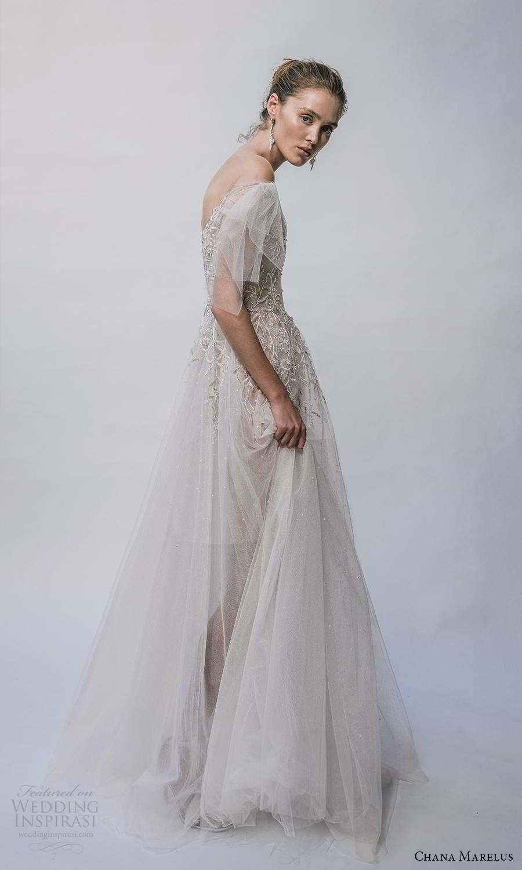 chana marelus 2021 bridal flutter sleeves vneckline embellished bodice a line ball gown wedding dress chapel train (8) sv