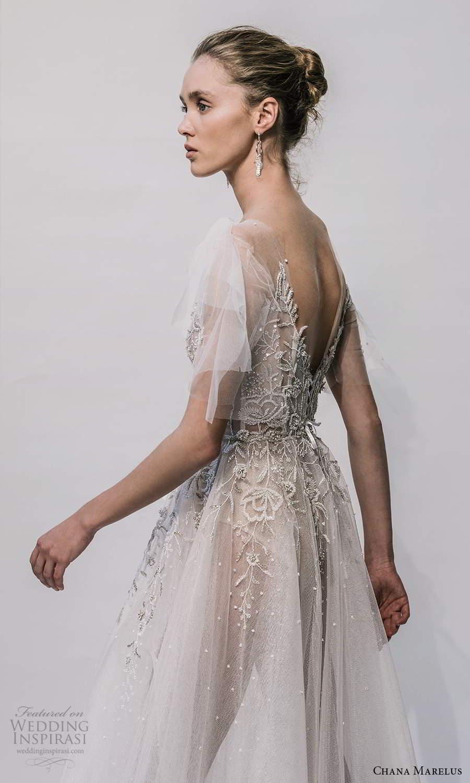 chana marelus 2021 bridal flutter sleeves vneckline embellished bodice a line ball gown wedding dress chapel train (8) zsv