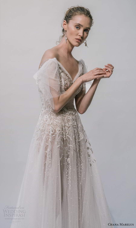 chana marelus 2021 bridal flutter sleeves vneckline embellished bodice a line ball gown wedding dress chapel train (8) zv
