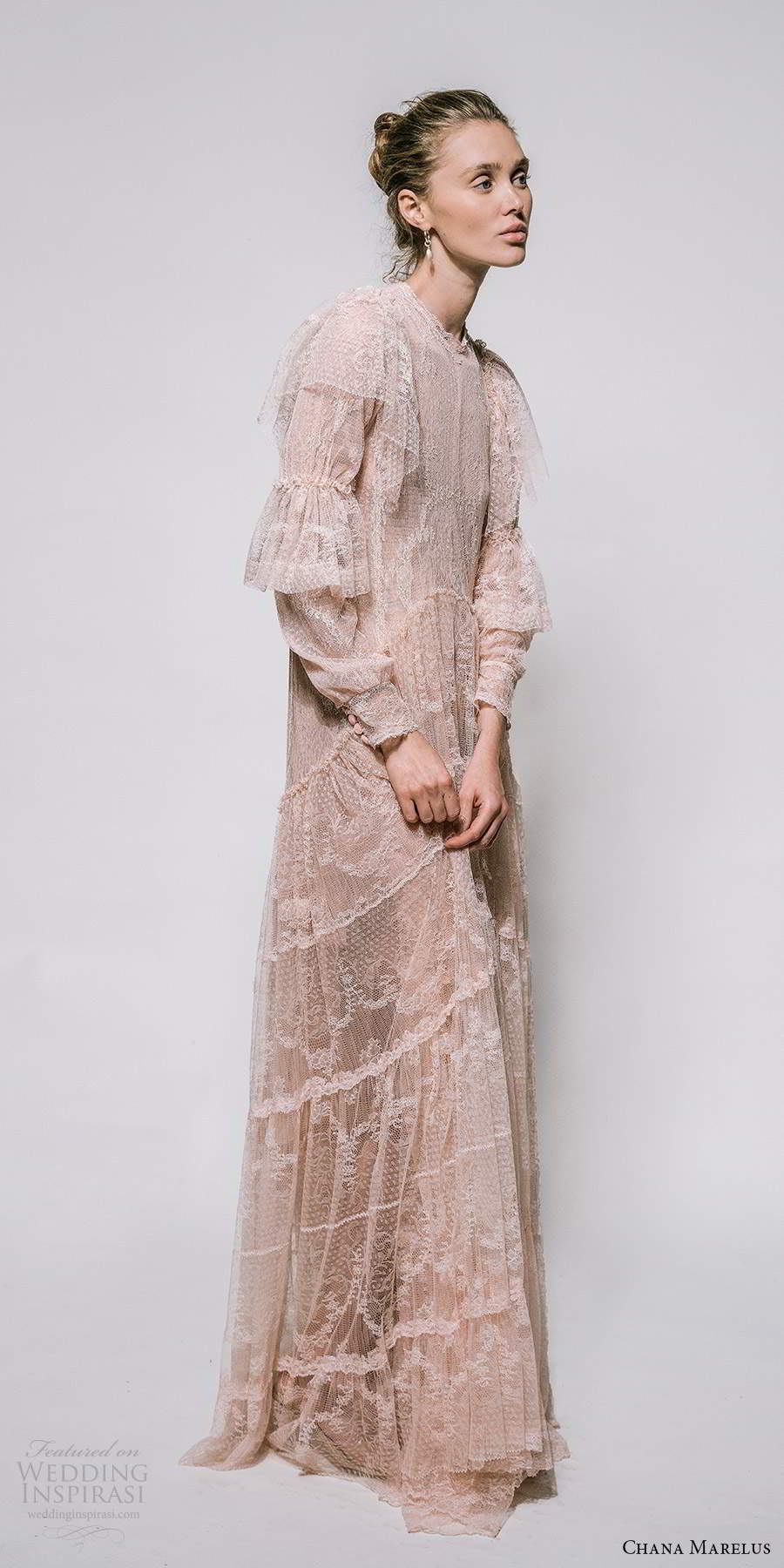 chana marelus 2021 bridal long sleeves jewel neckline embellished dotted tulle column wedding dress blush pink (11) mv