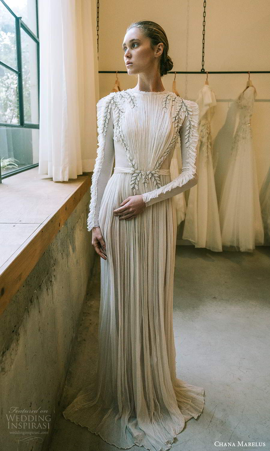 chana marelus 2021 bridal long sleeves jewel neckline ruched bodice pleated skirt a line column wedding dress chapel train (4) mv