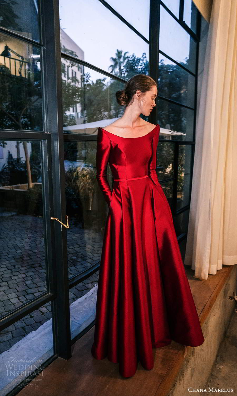 chana marelus 2021 bridal long sleeves off shoulder scoop neckline clean minimalist red a line ball gown wedding dress (14) mv