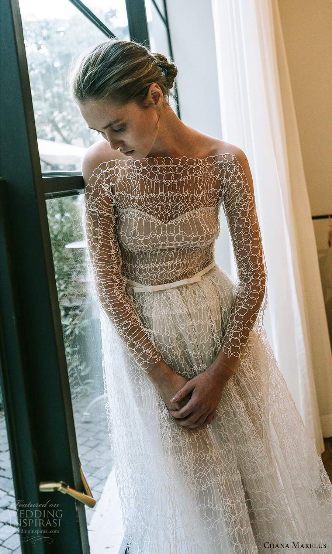 chana marelus 2021 bridal sheer long sleeves bateau neckline fully embellished a line ball gown wedding dress chapel train (6) mv