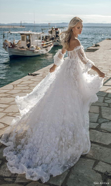 gal avitan 2021 bridal detached bishop sleeves strapless sweetheart neckline fully embellished a line ball gown wedding dress chapel train (4) bv