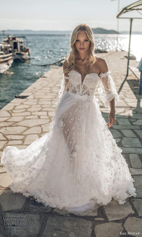 gal avitan 2021 bridal detached bishop sleeves strapless sweetheart neckline fully embellished a line ball gown wedding dress chapel train (4) fv