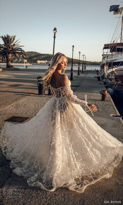 gal avitan 2021 bridal detached bishop sleeves strapless sweetheart neckline fully embellished sheer bodice a line ball gown wedding dress sweep train (11) bv