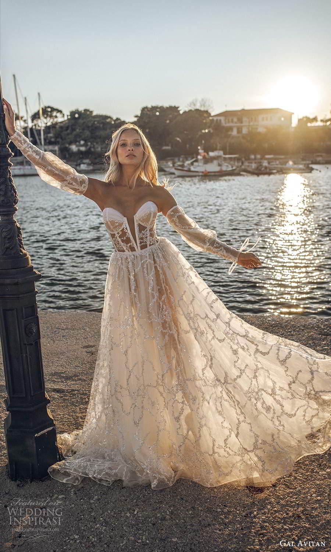 gal avitan 2021 bridal detached bishop sleeves strapless sweetheart neckline fully embellished sheer bodice a line ball gown wedding dress sweep train (11) mv