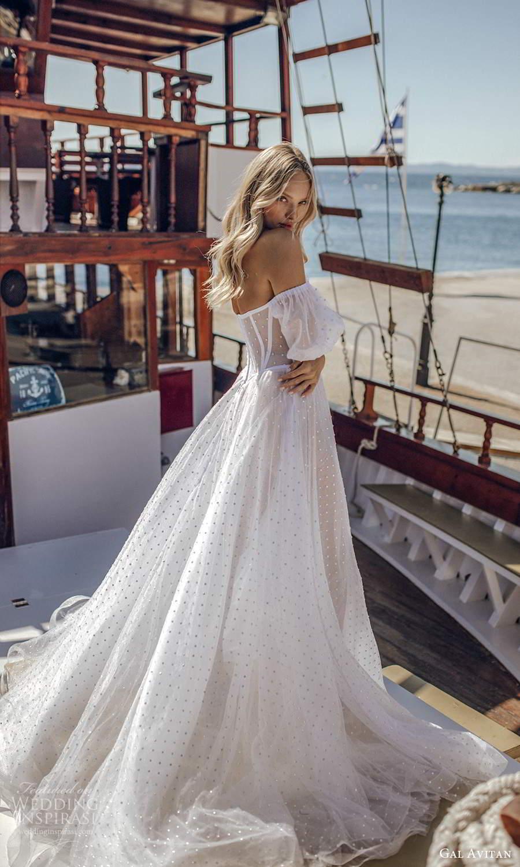 gal avitan 2021 bridal detached puff sleeves strapless sweetheart neckline corset bodice sheer a line ball gown wedding dress (9) bv