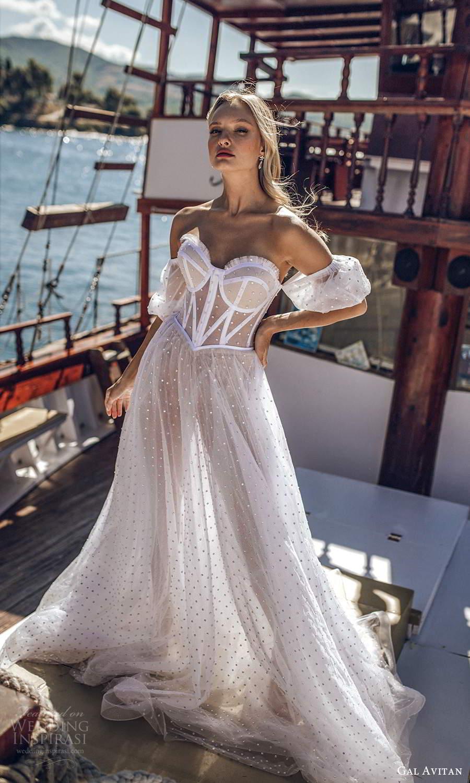 gal avitan 2021 bridal detached puff sleeves strapless sweetheart neckline corset bodice sheer a line ball gown wedding dress (9) fv
