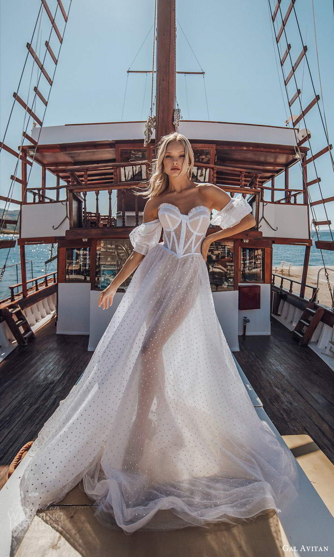 gal avitan 2021 bridal detached puff sleeves strapless sweetheart neckline corset bodice sheer a line ball gown wedding dress (9) mv