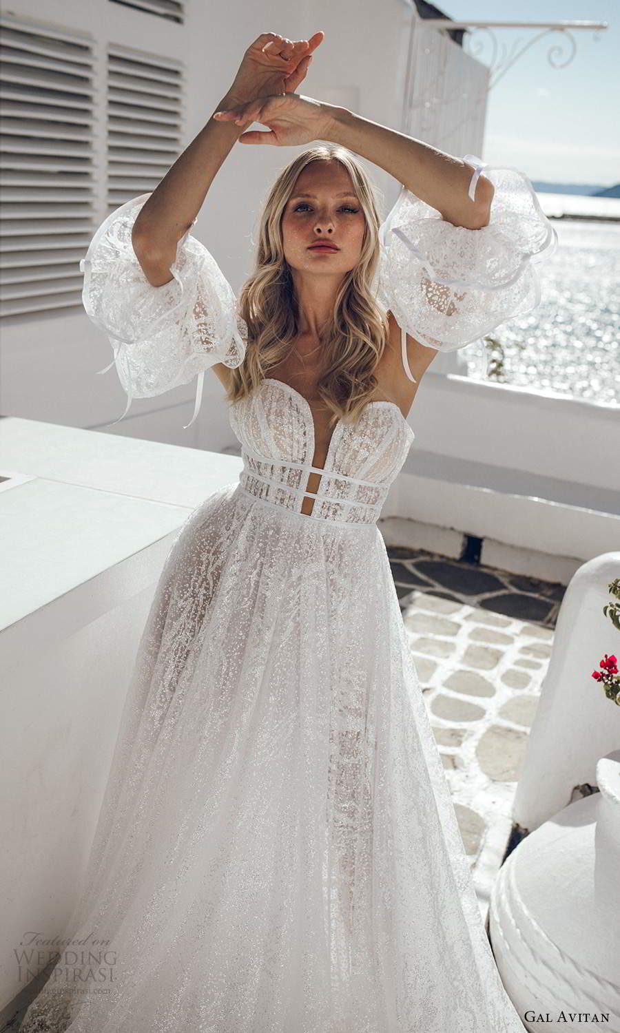 gal avitan 2021 bridal detached puff sleeves strapless sweetheart neckline fully embellished lace a line ball gown wedding dress chapel train (6) zv
