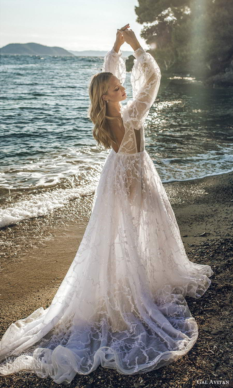 gal avitan 2021 bridal long billowy bishop puff sleeves plunging v neckline fully embellished a line wedding dress chapel train (7) bv