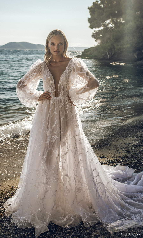 gal avitan 2021 bridal long billowy bishop puff sleeves plunging v neckline fully embellished a line wedding dress chapel train (7) mv