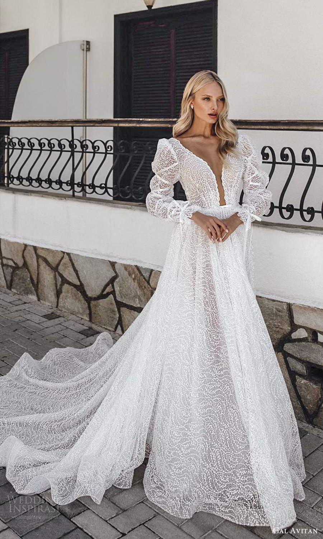 gal avitan 2021 bridal long puff sleeves plunging v neckline fully embellished a line wedding dress chapel train (2) mv
