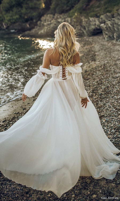 gal avitan 2021 bridal off shoulder bishop sleeves sweetheart neckline pleated a line ball gown wedding dress (8) bv