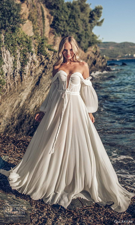 gal avitan 2021 bridal off shoulder bishop sleeves sweetheart neckline pleated a line ball gown wedding dress (8) mv