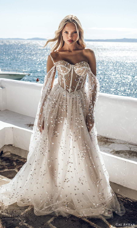 gal avitan 2021 bridal off shoulder long flare sleeves straps sweetheart neckline embellished sheer bodice a line wedding dress chapel train (1) mv