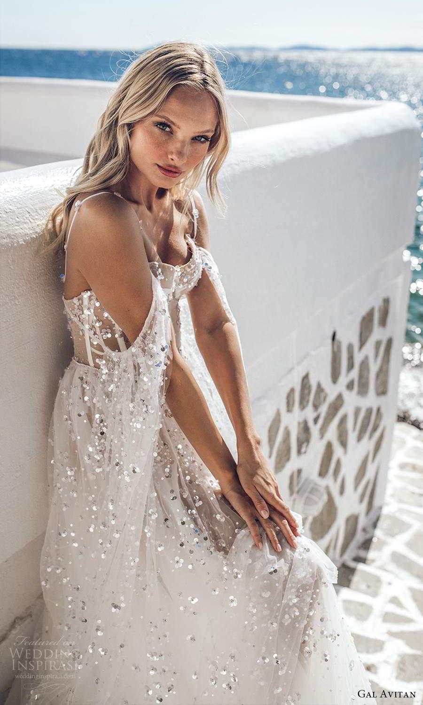 gal avitan 2021 bridal off shoulder long flare sleeves straps sweetheart neckline embellished sheer bodice a line wedding dress chapel train (1) zsv